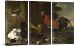 Yard with Rooster and Hens and Chicks 1670-3-Panels-90x60x1.5 Thick
