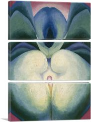 Series I White & Blue Flower Shapes 1919-3-Panels-90x60x1.5 Thick