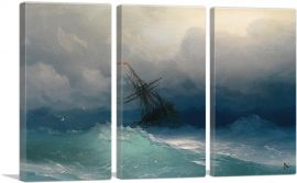 Ship in the Stormy Sea 1858-3-Panels-90x60x1.5 Thick