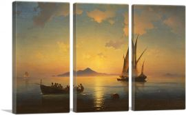 The Bay of Naples 1841-3-Panels-90x60x1.5 Thick