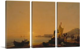 The Bay of Naples 1844-3-Panels-90x60x1.5 Thick