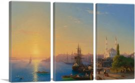 View of Constantinople and the Bosphorus 1856-3-Panels-90x60x1.5 Thick