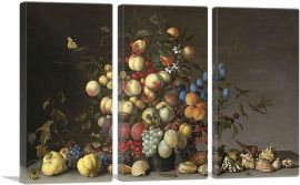 Peaches and Fruits in a Pewter Vase-3-Panels-90x60x1.5 Thick