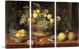 Still Life with Basket of Fruit 1622-3-Panels-90x60x1.5 Thick