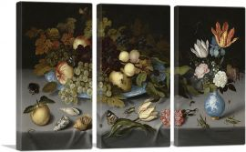 Still Life with Fruit, Blue Vase and Flowers 1621-3-Panels-90x60x1.5 Thick