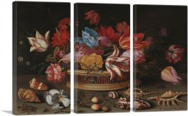 Flowers and Sea Shells-3-Panels-90x60x1.5 Thick