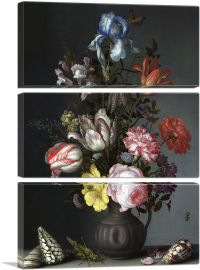 Flowers in a Vase with Shells and Insects 1630-3-Panels-90x60x1.5 Thick