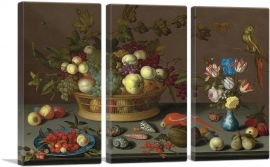 Flowers in Vase, Fruit and Red Parrot-3-Panels-90x60x1.5 Thick