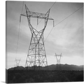 Transmission Lines in Mojave Desert Leading from Boulder Dam