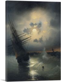 A Sailing Ship on a High Sea by Moonlight