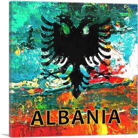 Flag of Albania Colorful Splatter Teal Orange