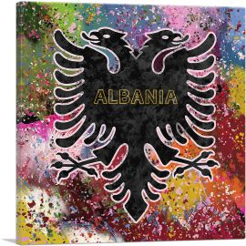Flag of Albania Colorful Splatter