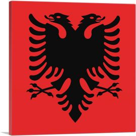 Flag of Albania Country in the Balkans Red Square