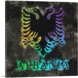 Flag of Albania on Black Background