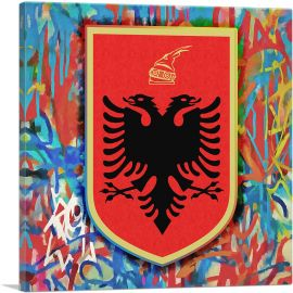 Albanian Country in the Balkans Coat of Arms with Graffiti