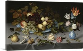 Still Life with Fruit, Blue Vase and Flowers 1621