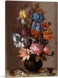 Flowers in Vase With Lizard 1625