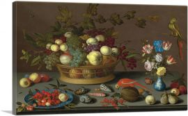 Flowers in Vase, Fruit and Red Parrot