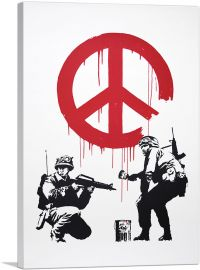 Soldiers Painting Peace Sign