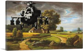 Apache Helicopter Over Farm Field