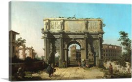 View of the Arch of Constantine with the Colosseum 1745