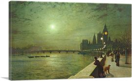 Reflections on the Thames - Westminster 1880