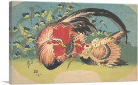 Rooster, Hen and Chicken with Spiderwort 1830