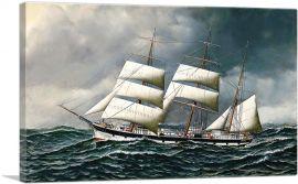 The Norwegian Bark Friedig at Sea Under Reduced Sail 1903