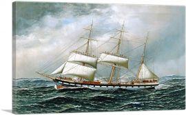 The Norwegian Bark Superb Shortening Sail in Mid-Ocean 1904