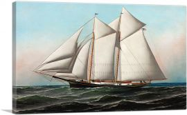Portrait of an American Yacht Flying Flag of NY Yacht Club 1887