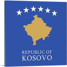 Republic of Kosovo Flag Square