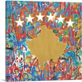Kosovo Country Flag Graffiti Style