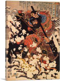 Kyusenpo Sacucho Charging Through the Snow on a Black Stallion