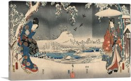 Snowy Landscape With a Woman Brandishing a Broom and a Man Holding an Umbrella