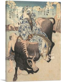 Woman with a Pipe Riding on a Buffalo