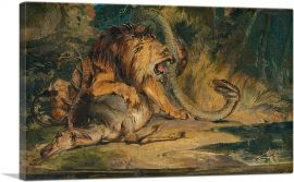 Lion Defending its Prey 1840