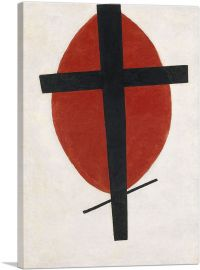 Mystic Suprematism - Black Cross on Red Oval