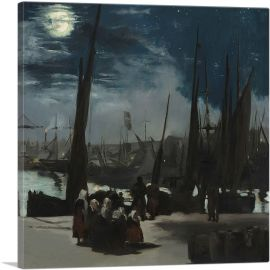 The Port of Boulogne in Moonlight 1869