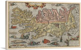 Map of Iceland with Sea Monsters 1585
