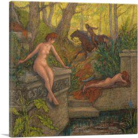 Deux Nymphes Surprises Par Un Cavalier 1905