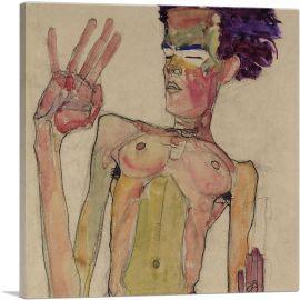 Kneeling Nude with Raised Hands