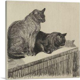 Deux Chats Sur Un Meuble 1914