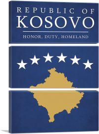 Republic of Kosovo Honor Duty Homeland Motto-3-Panels-90x60x1.5 Thick